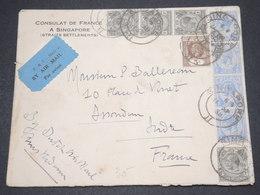 SINGAPOUR - Enveloppe Du Consulat De France à Singapoure En 1934 Par Avion Pour La France - L 14590 - Straits Settlements
