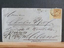 75/382    LETTRE DEPARIS POUR MILANO  TIMBRE BORD DE FEUILLE - 1876-1898 Sage (Type II)