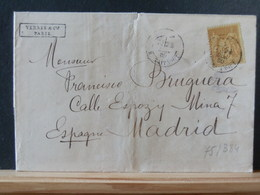 75/383    LETTRE DEPARIS POUR MADRID  1880 - 1876-1898 Sage (Type II)