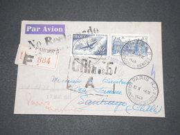 FRANCE - Enveloppe En Recommandé Paris / Santiago En 1946 Et Retour , Griffe Chilienne à Voir - L 14595 - Correo Aéreo