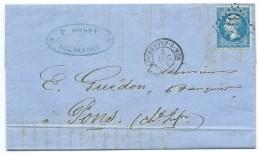 N° 22 BLEU NAPOLEON SUR LETTRE / ROCHEFORT SUR MER / 1864 - Marcophilie (Lettres)