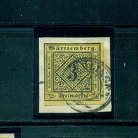 Württemberg, Wertziffer Im Quadrat Nr. 2 Y, Gestempelt Auf Briefstück, Geprüft BPP - Wuerttemberg