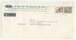 1975 Air Mail PORTUGAL Illus ADVERT COVER Impercar Auto Co KNIGHT HORSE Stamps To GB Airmail Label - 1910-... Republic