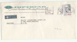 1980 Air Mail PORTUGAL Illus ADVERT COVER Impercar Auto Co  Stamps To GB Airmail Label - Covers & Documents
