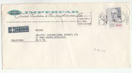 1980 Air Mail PORTUGAL Illus ADVERT COVER Impercar Auto Co  Stamps To GB Airmail Label - 1910-... République