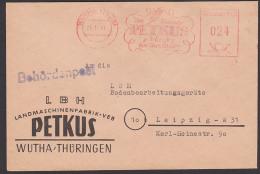 Wutha PETKUS Behördenpost 1951, Landmaschinenfabrik - Storia Postale