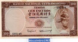 Belhete 100 Escudos 1963 Timor Portugues Colonia Banco Nacional Ultamarino - Timor