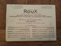 Paris Cabinet Roux Assurances, Succursales Besançon Bordeaux Bourges Lille Lyon Marseille Nantes Nancy Reims Toulouse - Cartoncini Da Visita