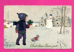 LATVIA LETTLAND NEW YEAR BOY AND SNOWMAN VINTAGE POSTCARD USED 657 - Noël