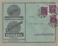 DR Werbeumschlag Der Firma Geha Mef Minr.3x 191 Hannover 13.7.22 Gel. In Schweiz - Deutschland