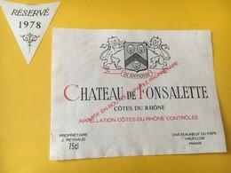 7047 -  Château De Fonsalette 1978 - Côtes Du Rhône