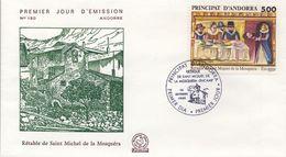 ANDORRA FRANCESA , SOBRE DE PRIMER DIA , ED. 405 , RETABLO DE SAN MIGUEL DE LA MOSQUERA - FDC