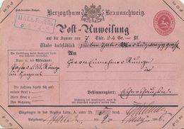 Braunschweig Post-Anweisung Blauer R2 Halle A. D. Weser 8.5 Gel. Nach K2 Eschershausen 9.5.1866 - Braunschweig