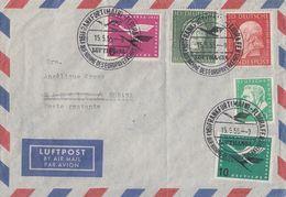 Bund Luftpostbrief Mif Minr.201,202,205,206,209 Frankfurt 15.5.55 - BRD