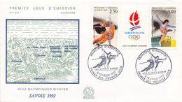 1992 ANDORRA FRANCESA , SOBRE DE PRIMER DIA , ED. 434 / 435 - JUEGOS OLÍMPICOS DE INVIERNO - FDC