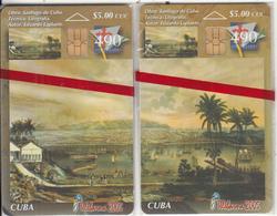 CUBA - Puzzle Of 2 Cards, Santiago De Cuba, Telebarna 2005, Exhibition In Barcelona, Tirage 1000, 06/05, Mint - Cuba
