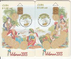 CUBA - Puzzle Of 2 Cards, Telebarna 2003, Exhibition In Barcelona, Tirage 1000, 10/03, Used - Cuba