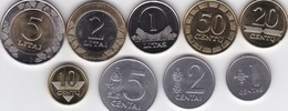 Lithuania - Set 9 Coins 1 2 5 10 20 50 Centu 1 2 5 Litai 1991 - 2010 UNC Lemberg-Zp - Lithuania
