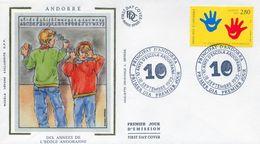 1993 ANDORRA FRANCESA , SOBRE DE PRIMER DIA , ED. 459 , 10 AÑOS DE ESCUELA ANDORRANA - FDC