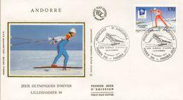 1994 ANDORRA FRANCESA , SOBRE DE PRIMER DIA , ED. 462 - JUEGOS OLÍMPICOS DE INVIERNO - FDC