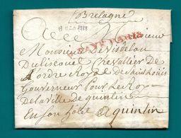 Dispersion D'une Collection De Paris. Pour De VISDELOU DU LISCOUET, Gouverneur Pour Le Roi à QUINTIN (Cotes Du Nord) - Marcophilie (Lettres)