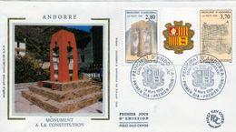 1994 ANDORRA FRANCESA , SOBRE DE PRIMER DIA , ED. 463 / 464 , PRIMER ANIVERSARIO DE LA CONSTITUCIÓN - FDC