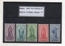 Belgio - 1947 - Pro Vittime Di Guerra - 5 Valori - Nuovi - ** - (FDC8596) - 1914-1915 Croix-Rouge