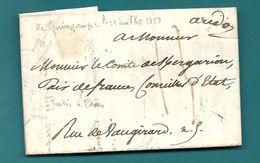 Dispersion D'une Collection De Paris. Pour Le Comte De KERGARIOU . Ecrite à Guingamp (1828). VOIR DESCRIPTION - Marcophilie (Lettres)