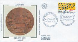 1995 ANDORRA FRANCESA , SOBRE DE PRIMER DIA , ED. 477 / 478 - TEMA EUROPA - FDC