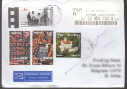 Croatia Modern Stamps Travelled Cover To Serbia - Kroatien