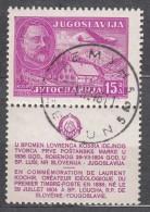 Yugoslavia Republic 1948 Airmail Stamp With Tab - Lovrenc Kosir Mi#556 ZfI Used - 1945-1992 Socialistische Federale Republiek Joegoslavië