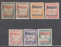 Madagascar 1896 Timbre Taxe Yvert#1-7 Mint Hinged - Madagascar (1889-1960)