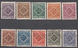 Madagascar 1947 Timbre Taxe Yvert#31-40 Mint Hinged - Madagascar (1889-1960)