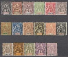 Gabon 1904 Yvert#16-32 Mint Hinged - Unused Stamps