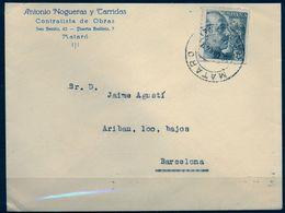 1942 , BARCELONA , SOBRE COMERCIAL CIRCULADO , MATARÓ - 1931-50 Briefe U. Dokumente