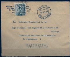 1941 , BARCELONA , SOBRE COMERCIAL CIRCULADO , MATARÓ - 1931-50 Briefe U. Dokumente