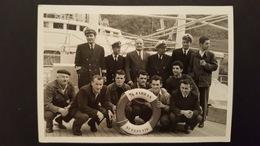 Old Rppc Photo Ship M/b Jadran Rijeka Fiume Crew  Squad Jadrolinija RIJEKA CROATIA RR - Photography