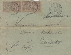 1901- Enveloppe De THENAC ( Charente. Maritime. ) Affr N° 88 Bande De 3 + N°87  Pour Saintes -très Bon Affranchissement - 1877-1920: Période Semi Moderne