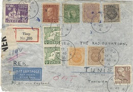 1945- Reg. Cover From TIERP  By Air Via England  To Tunisia - English Censur - Sweden