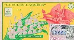 "BILLET DE LOTERIE  ;  ""GUEULES CASSEES""  JE PORTE BONHEUR (MUGUET)  1972 - Biglietti Della Lotteria"