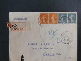 75/393  LETTRE RECOMM.   1923 - 1906-38 Semeuse Camée