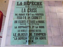 Affiche La Depeche 43 X 62 Cm - La Crise M Ribot Fait Des Visites  Ect - Manifesti