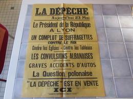 Affiche La Depeche 43 X 62 Cm - Le President De La Republique A Lyon  Ect - Manifesti