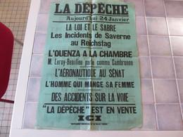 Affiche La Depeche 43 X 62 Cm - La Loi Et Le Sabre Les Insidents De Saverne Au Reichstag  Ect - Manifesti