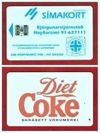 """ICELAND: 1995 ICE-RA-07 """"Simakort"""" Diet Coke Used (5.000 Ex) - Iceland"""