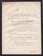 CROIX DE FER 1830 Alexandre GENDEBIEN époux NALINNE 1812-1865 Bruxelles CHARLEROI Charbonnages - Obituary Notices