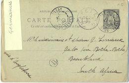 ENTIER  SAGE TàD LEZAY DEUX-SEVRES 27 SEPT 99 -> QALO (via BOTHA-BOTHE) BASUTOLAND SOUTH AFRICA TàD MAFETENG LESOTHO - Postal Stamped Stationery