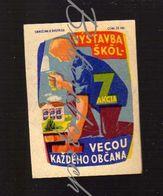 64-153 CZECHOSLOVAKIA 1959 Communist-era Propaganda School Construction -  Initiative Z Program Of A Volunteer - Boites D'allumettes - Etiquettes