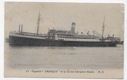 (RECTO / VERSO) PAQUEBOT AMERIQUE EN 1931 - N° 23 - CIE DES CHARGEURS REUNIS - 75 - Paquebots