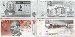 Estonia Set 2 Pcs 2+5 Krooni - Pick 76-85 UNC Random Years - Estonia